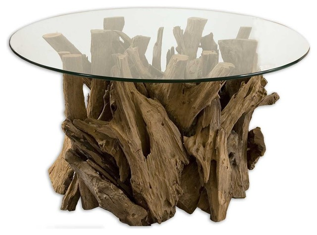 Uttermost   Uttermost Driftwood Round Glass Top Cocktail Table   Coffee  Tables