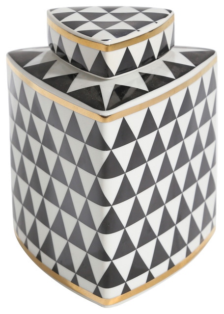 Sagebrook Home Black/White Checkered Triangle Jar 7""