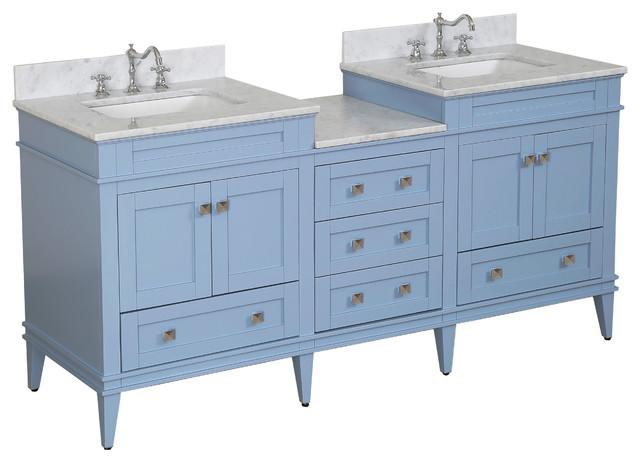 """Eleanor 72"""" Double Bathroom Vanity With Carrara Top, Powder Blue"""