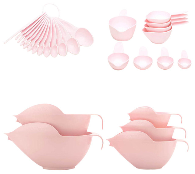 Pourfect Mixing Bowls, Measuring Spoons And Cups 27-Piece Set, Pink.