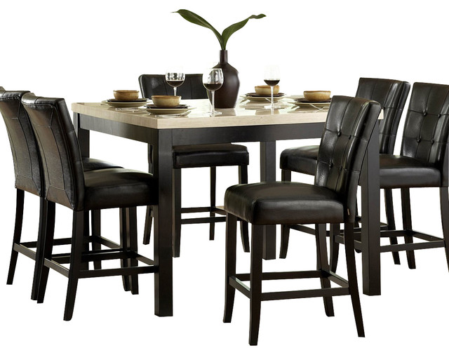 Homelegance Archstone 7 Piece Counter Height Dining Room Set with Black  Chairs traditional dining
