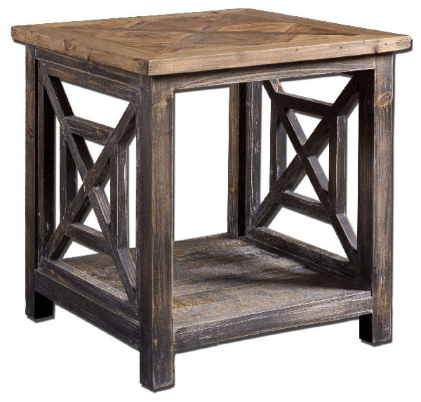 Spiro Reclaimed Wood End Table rustic-side-tables-and-end-tables - Spiro Reclaimed Wood End Table - Rustic - Side Tables And End