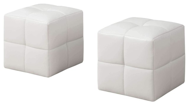 Pleasant Ottoman 2 Pieces Set Juvenile White Leather Look Onthecornerstone Fun Painted Chair Ideas Images Onthecornerstoneorg