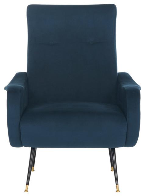 Elicia Velvet Retro Mid-Century Accent Chair, Navy.