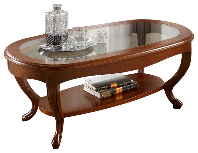 Golen Oval Glass Top Solid Wood Coffee Table Traditional Coffee