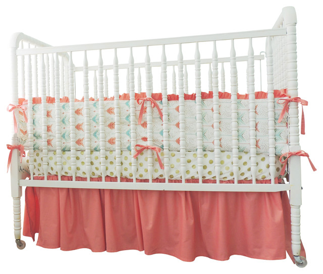 boutique cribset in aqua coral and gold with arrow theme modernbaby