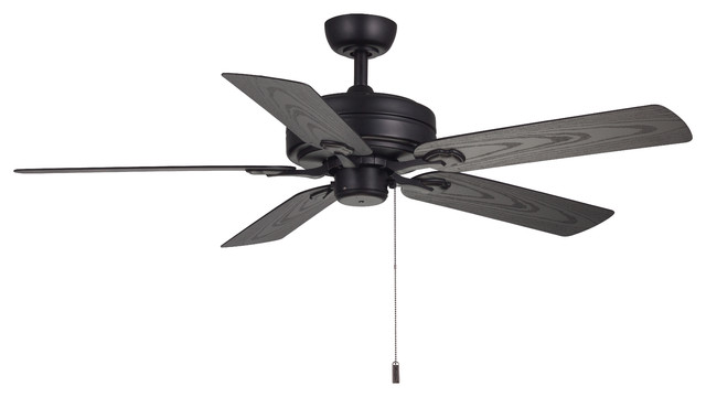 "Courtyard 52"" Ceiling Fan, Matte Black."