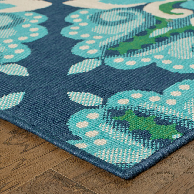 Madelina Medallion Blue And Green Indoor Or Outdoor Area Rug, 7&x27;10x10&x27;10.