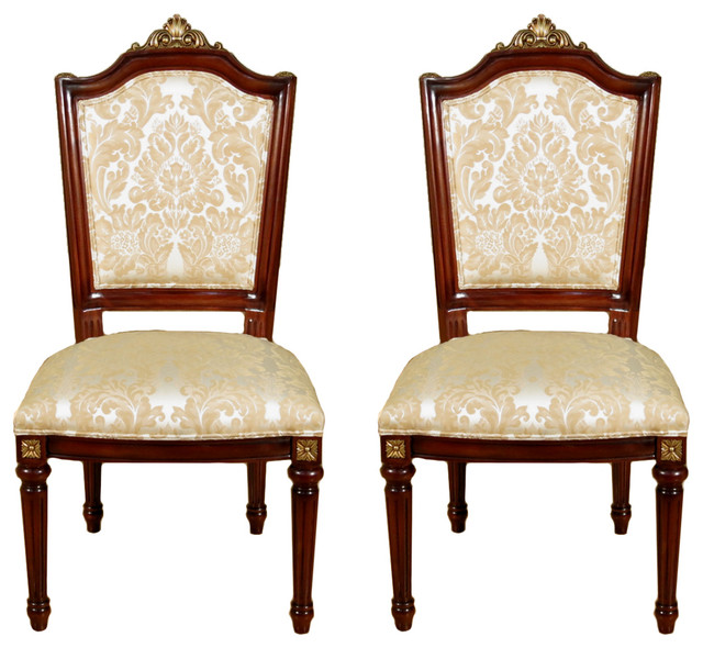 Warm Brown Ivory Gold Rococo Side Chairs Set Of 2