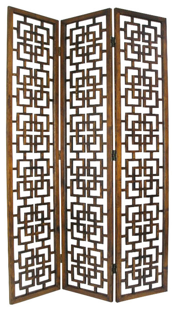Wayborn Chinese Oakwood Full House Room Divider in Brown asian-screens-and- room