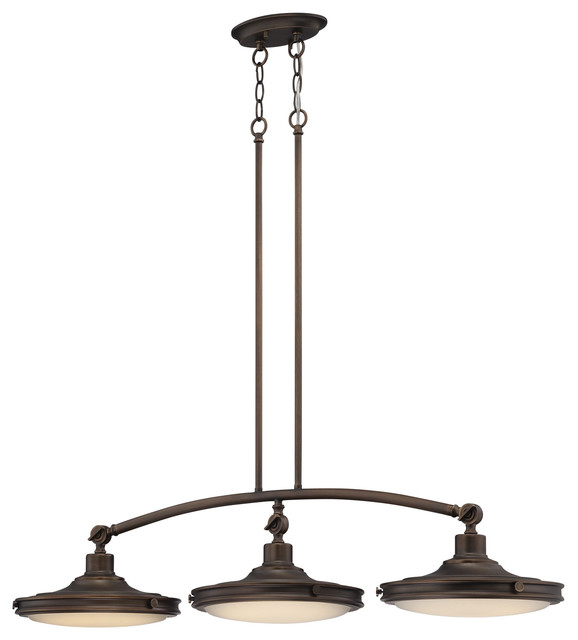 3-Light Led Island Pendant Lights, Rustic Brass Finish