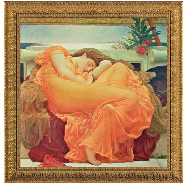 Flaming June, 1895: Canvas Replica Framed Painting, Medium