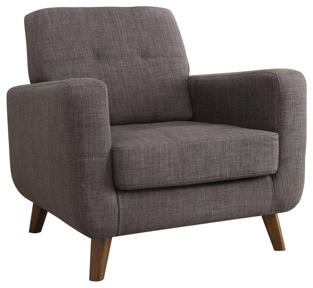 Jaffa Wood Leg Armchair, Gray midcentury-armchairs-and-accent-chairs