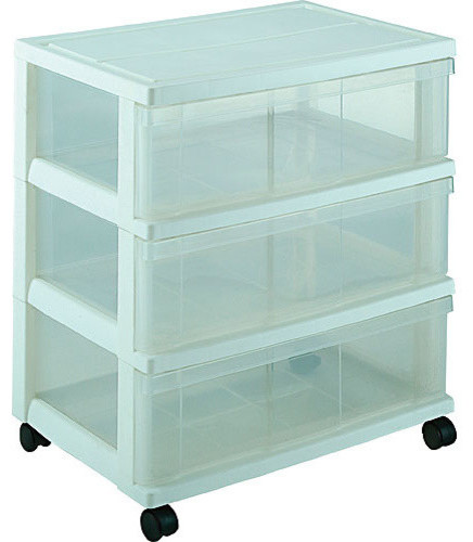 Iris Plastic Wide Three Drawer Storage Chest Contemporary Storage Bins And