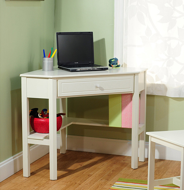 Simple Living Antique White Wood Corner Computer Desk Contemporary Desks And Hutches