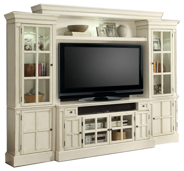 Parker House White Entertainment Center Tv Stand Wall