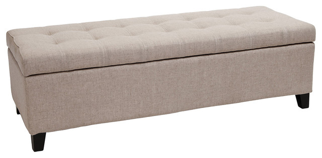 Santa Rosa Beige Tufted Fabric Storage Ottoman Bench  Transitional Footstools And Ottomans