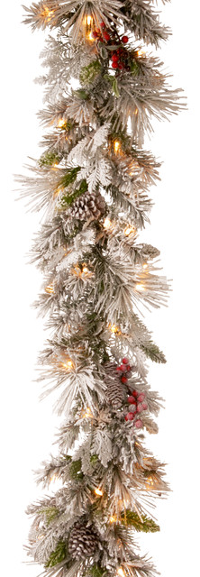 Snowy Bedford Pine Garland With Battery Operated Led Lights, 9 Ft..