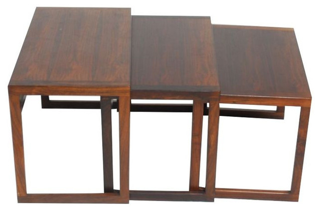 SOLD OUT Set of 3 Danish Modern Rosewood Nesting Tables 1200
