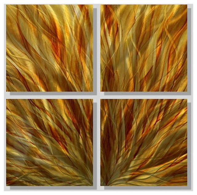 Amber Earthtone 4 Piece Metal Wall Art Accent Decor Autumn Fire By