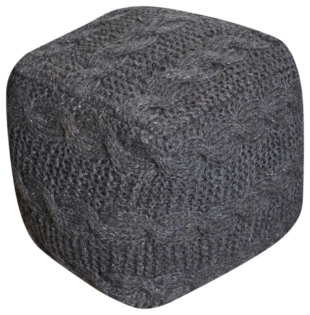 Dekka Hand Knit Fabric Artisan Square Pouf Contemporary