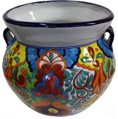 Medium Size Rainbow Talavera Ceramic Pot Southwestern Outdoor Pots And Planters