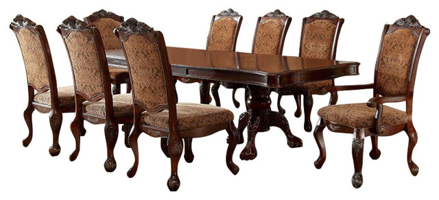 Cromwell Double Pedestal Formal Dining Room Table 7 Piece Set Antique Cherry