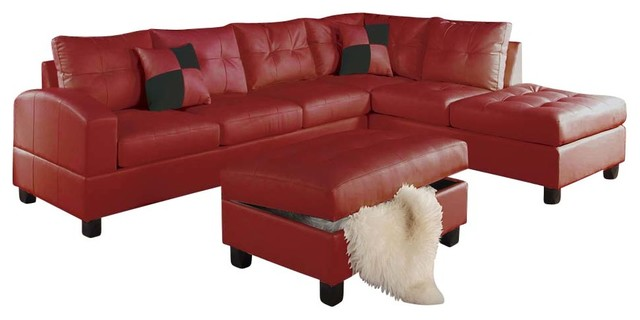 Contemporary Acme 51185 Red Bonded Leather Sectional Sofa