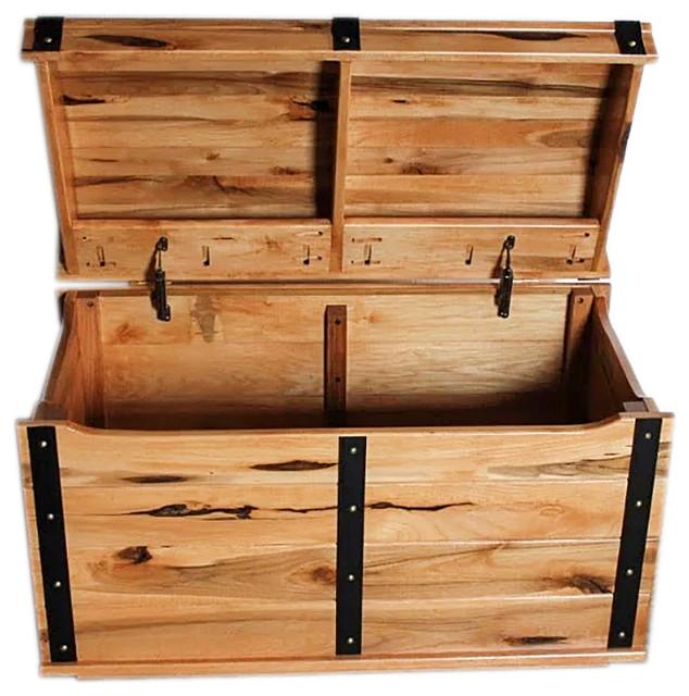 Well-liked Treasure Chest Knotty Hickory Toy Box, Nautical, Three Strap Round  QA06