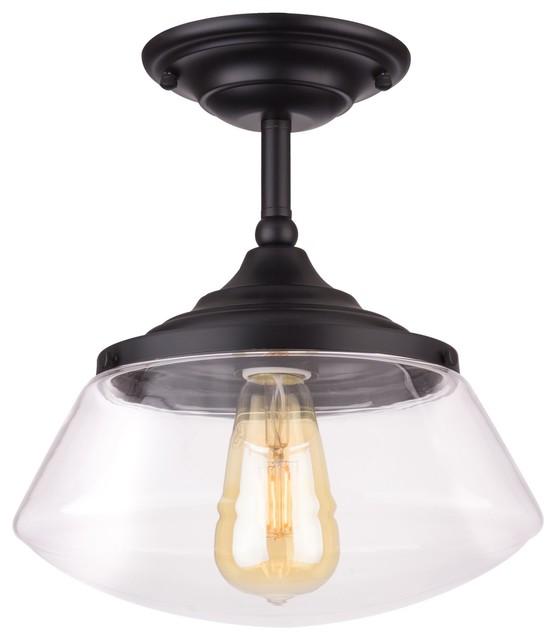 "Kira Home Summit 10"" Ceiling Light, Schoolhouse Glass Shade, Black Finish."