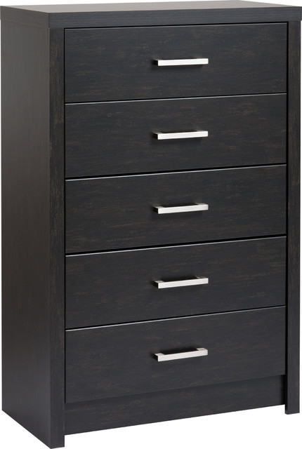 District 5-Drawer Chest, Washed Black.