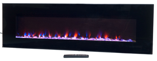 "Wall-Mounted Led Fire And Ice Electric Fireplace With Remote, 54""."