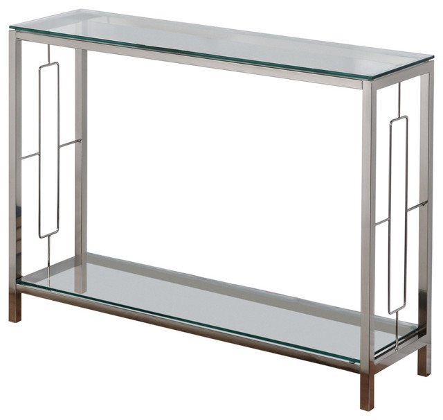 High Quality Metal And Glass Console Table, Chrome