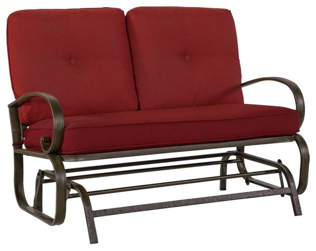 Groovy Laporta Pearse Home Outdoor Glider Loveseat With Brick Red Cushions Frankydiablos Diy Chair Ideas Frankydiabloscom