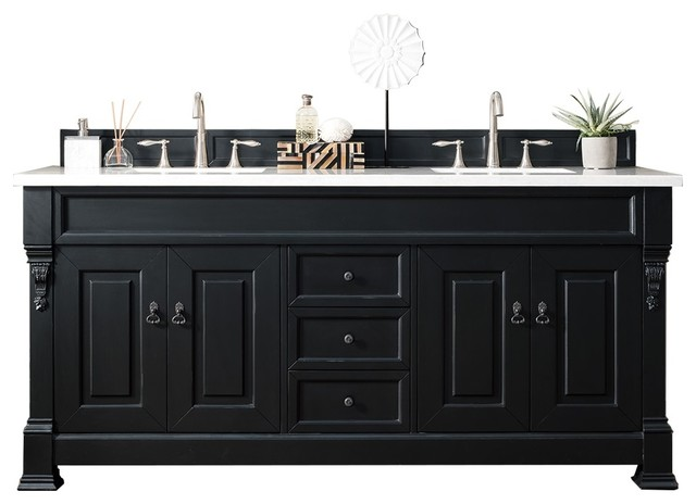 Brookfield 72 double cabinet antique black traditional - Antique white double sink bathroom vanities ...