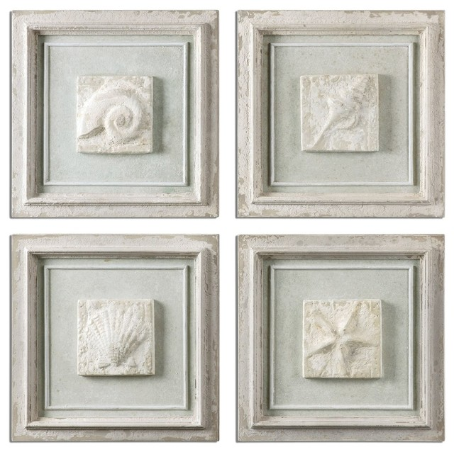 Beau Uttermost 13989 Matira Stone Wall Art, Set Of 4 Beach Style Wall