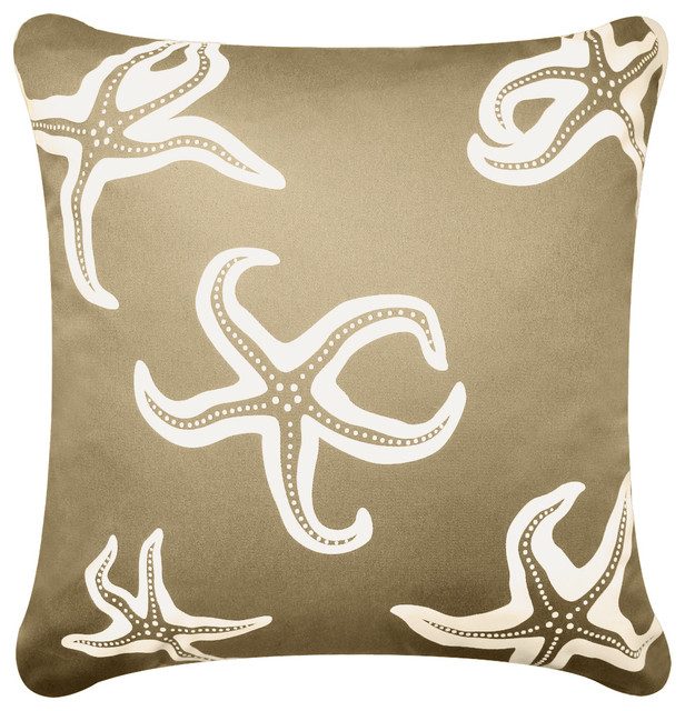 Starfish Eco Coastal Throw Pillow Cover, Khaki.