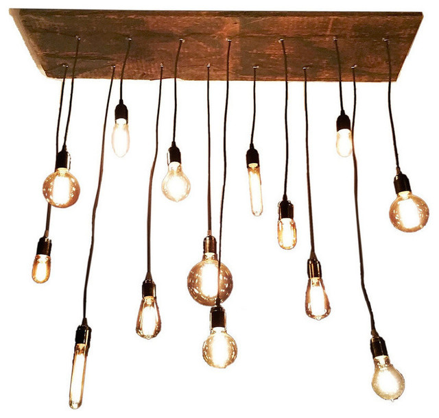 Shop houzz hangout lighting 14 light pendant wood for Wood pendant chandelier