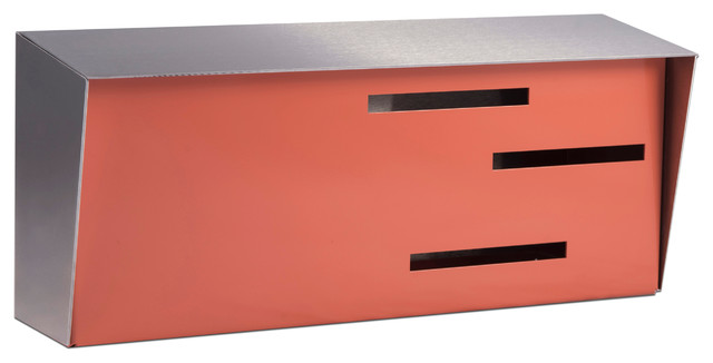mid century modern mailbox stainless and coral - Modern Mailboxes