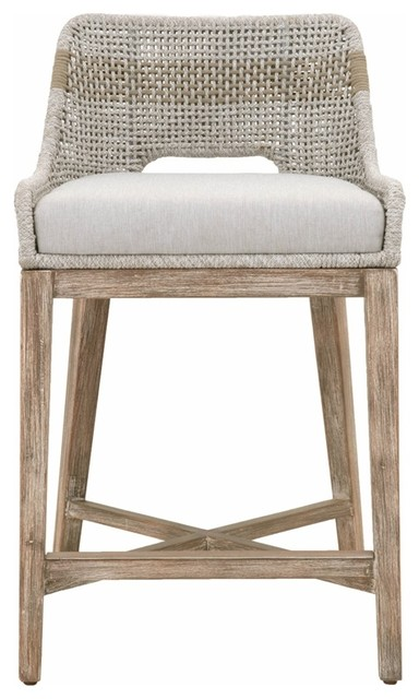Tapestry Counter Stool in Taupe and White Flat Rope and Natural Gray