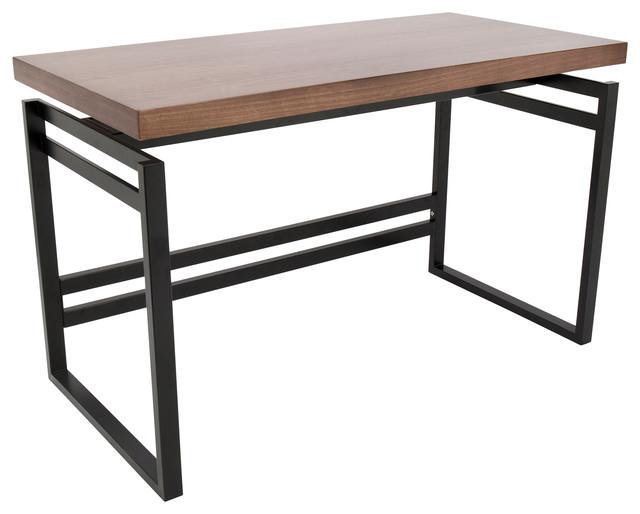 Drift Industrial Desk, Black And Walnut.