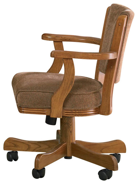 Casual Oak Mitchell Upholstered Arm Game Chair With Casters, Oak