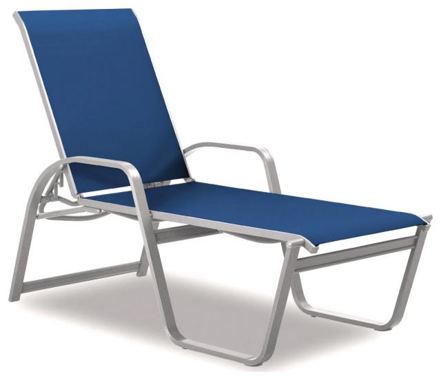 Aruba II 4-Position High Bed Chaise, Textured White, Cobalt