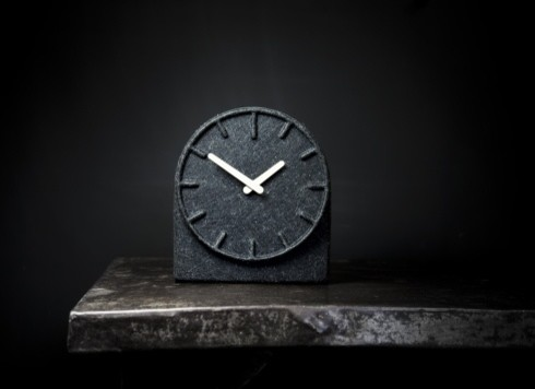 Leff Amsterdam Grey Felt Table Clock with White Hands
