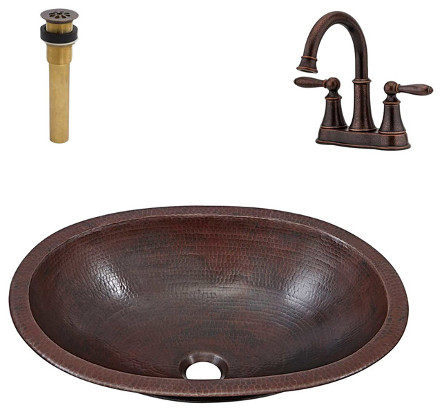 Wallace Undermount/Drop-In Copper Sink Kit With Bronze Faucet and Drain
