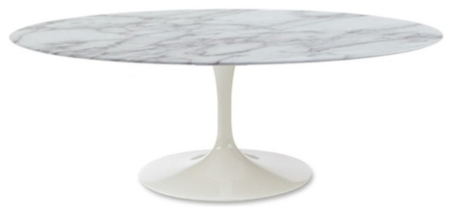 flower coffee table oval marble top, white - modern - coffee