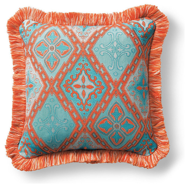 Savona Tile Blue Outdoor Pillow With Fringe Traditional Outdoor