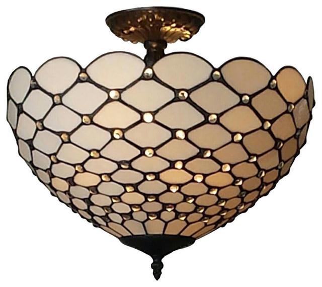 Amora Lighting Tiffany, Style Jewel 2, Light Semi, Flush Ceiling Fixture, 16.