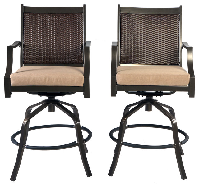 White Modern Desk Chair, Set Of 6 Aluminum Wicker Swivel Patio Bar Height Stools Bronze Tan Tropical Outdoor Bar Stools And Counter Stools By Pebble Lane Living