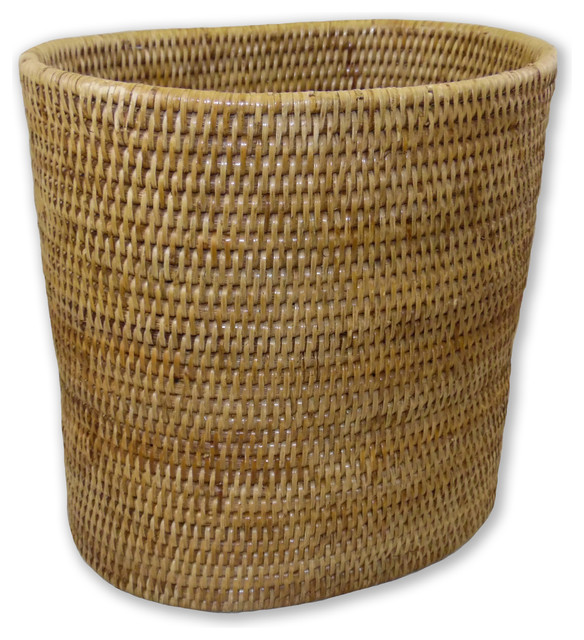 Rattan waste basket oval tropical wastebaskets by artifacts trading company - Wicker trash basket ...